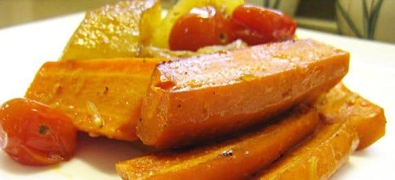 Жареные овощи с яблоками