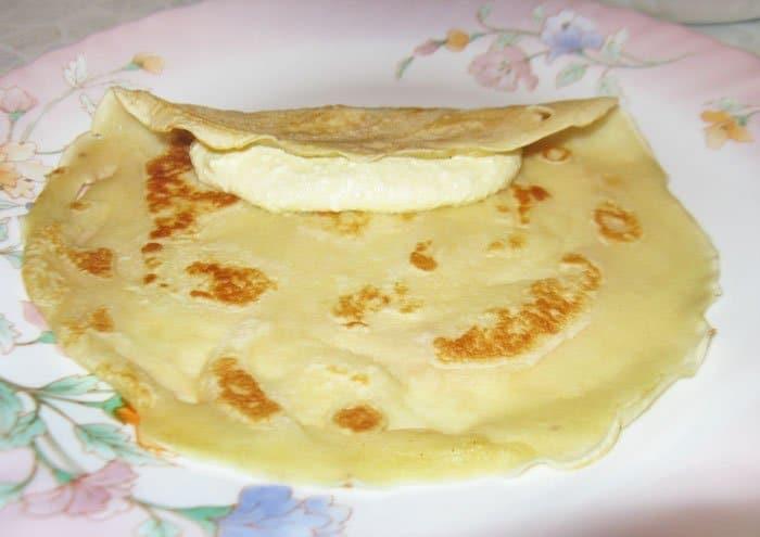 Рецепт блинчиков тонких на молоке с творогом