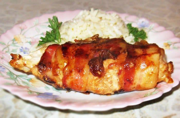 Курица с мандаринами в беконе - рецепт с фото