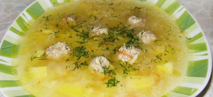 суп с фрикадельками пошаговый рецепт с рисом