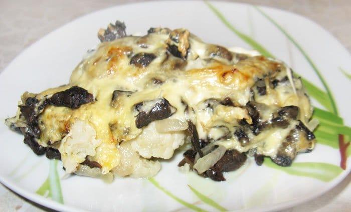Запеченная цветная капуста с грибами - рецепт с фото