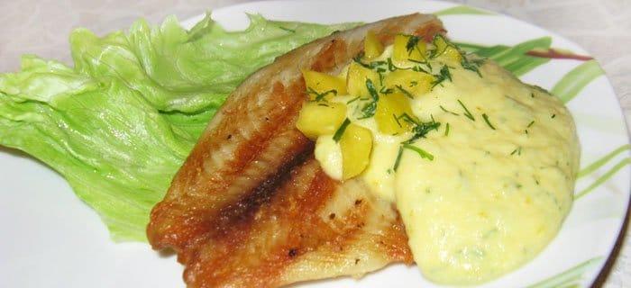 Рыба палтус под соусом из манго