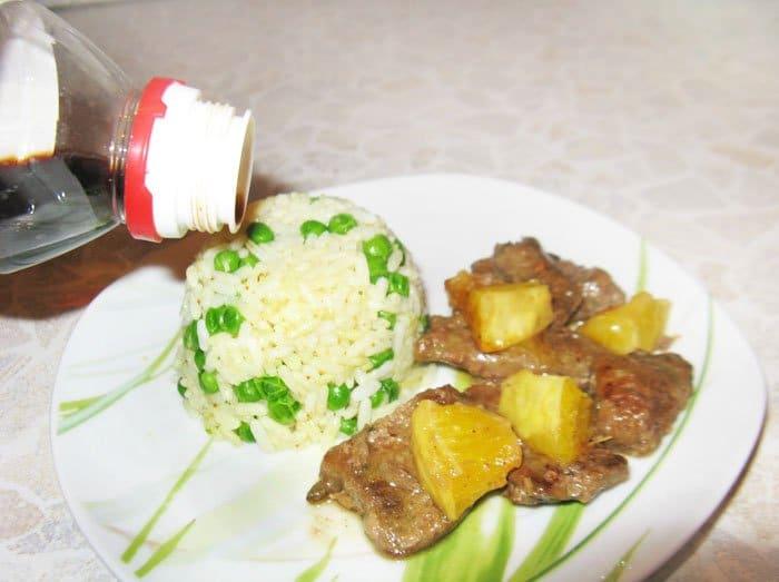 Фото рецепта - Жареная говяжья печень с апельсинами и рисом - шаг 7