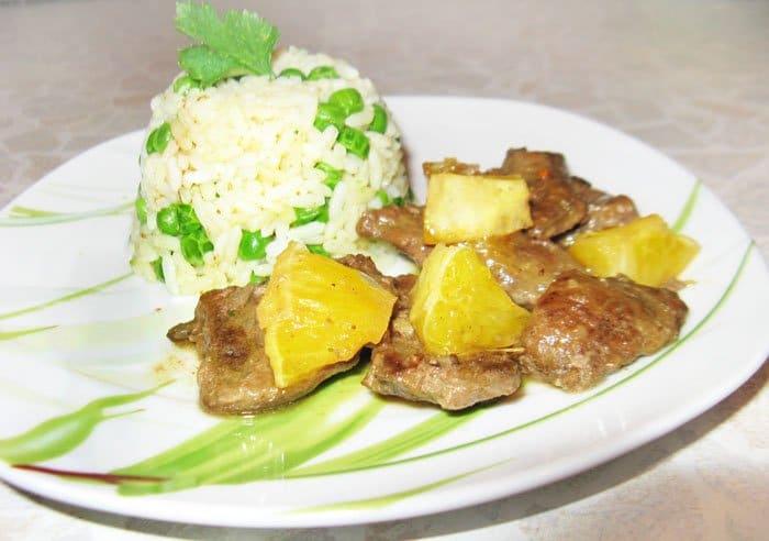 Жареная говяжья печень с апельсинами и рисом