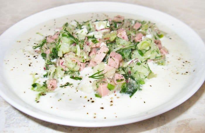 Окрошка на кефире - рецепт с фото