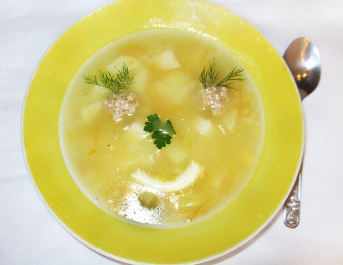 Суп с фрикадельками — оформление блюда - рецепт с фото