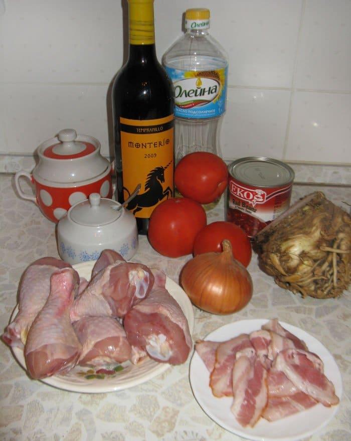 Фото рецепта - Куриные ножки с фасолью и сельдереем - шаг 1