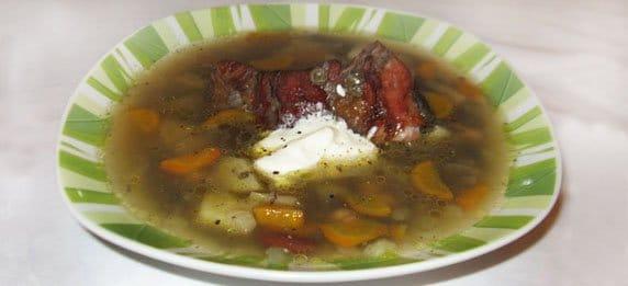 Суп из бобовых с копченостями