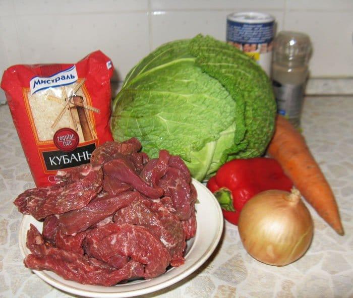 Фото рецепта - Тушеная савойская капуста с говядиной и рисом - шаг 1