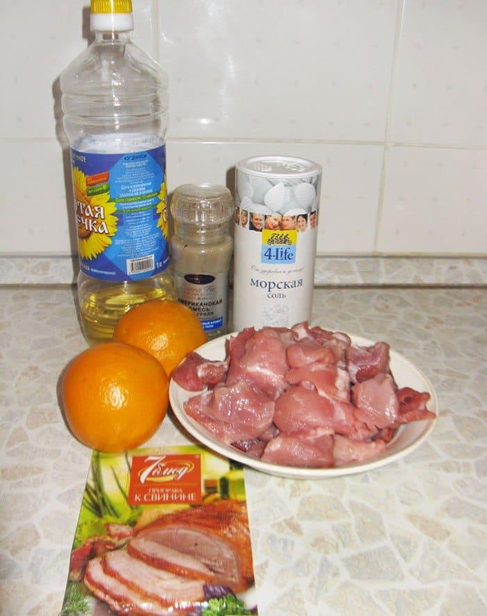 Фото рецепта - Тушеная свинина с апельсинами - шаг 1
