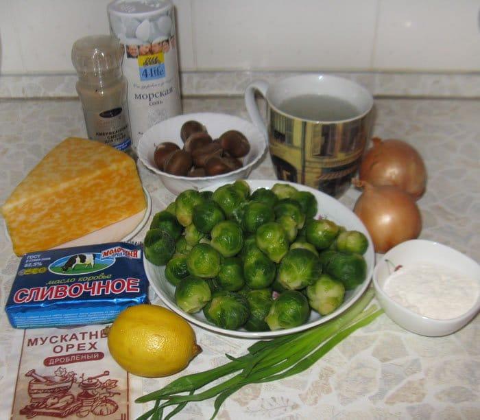 Фото рецепта - Запеченная брюссельская капуста с каштанами - шаг 1