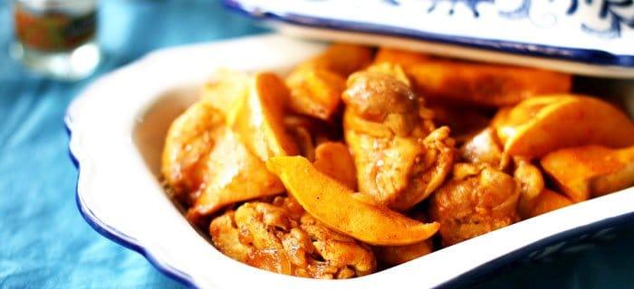 Фото рецепта - Куриные ножки с айвой под шафрановым соусом - шаг 4