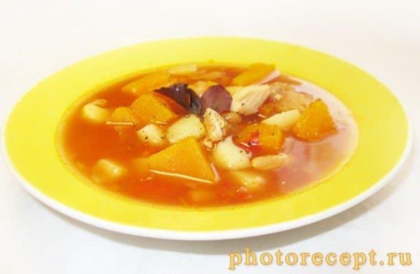 Овощной суп с тыквой и белой фасолью - рецепт с фото