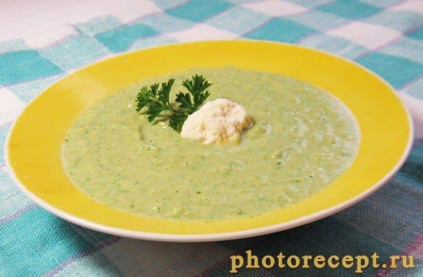 Суп-пюре с брокколи, цветной капустой и шпинатом - рецепт с фото