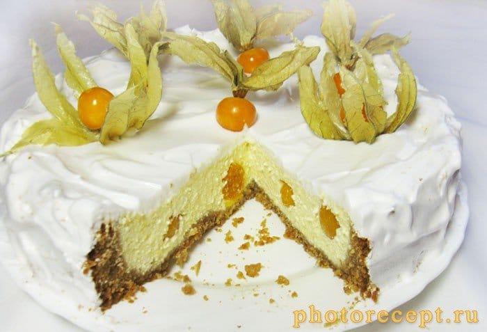 Фото рецепта - Пирог с творожно-сырной начинкой и физалисом - шаг 12