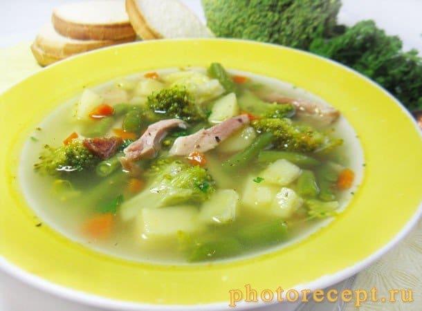 Суп из копченой курицы с брокколи и стручковой фасолью - рецепт с фото