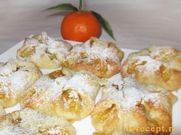 Фото рецепта - Творожные конвертики с мандаринами (булочки) - шаг 8