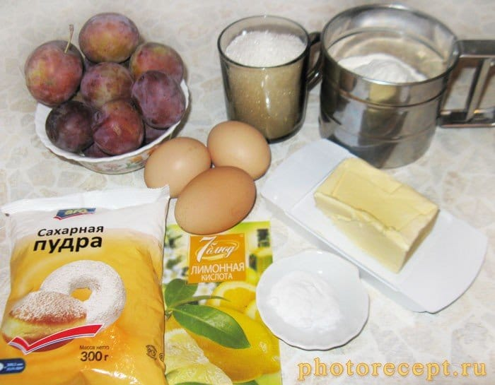 Фото рецепта - Пирог со сливами и итальянской меренгой - шаг 1