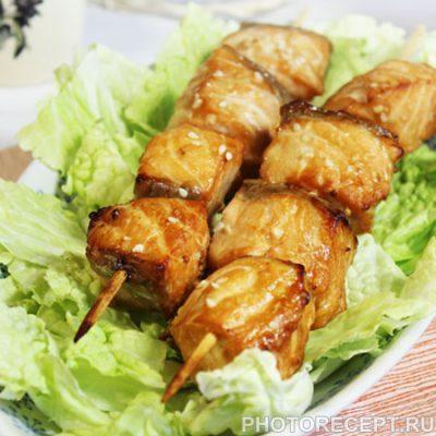 Шашлык из рыбы, маринованный в соевом соусе - рецепт с фото