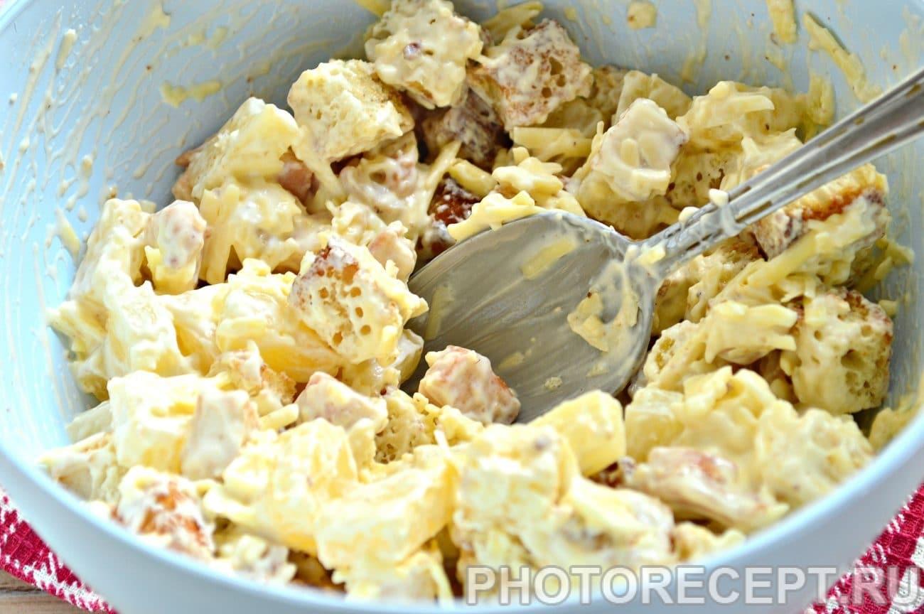 Салат курица с ананасом с сыром пошаговый рецепт