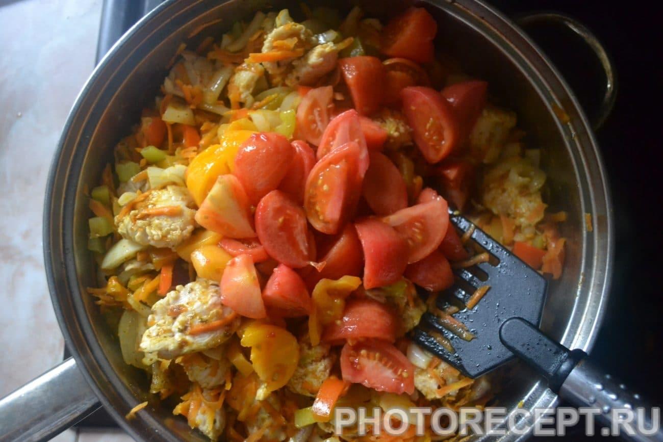 Овощи тушеные на сковороде с курицей рецепт