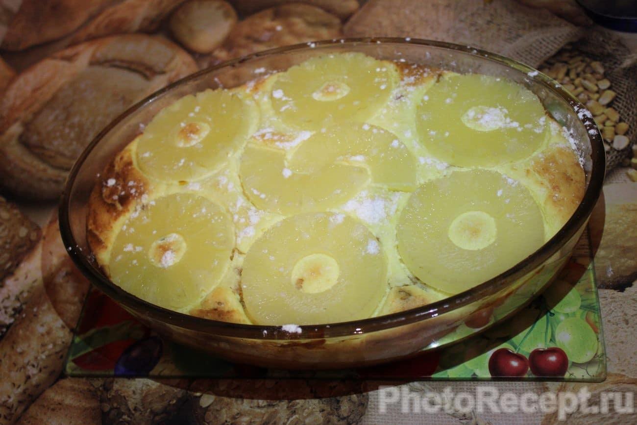 Запеканка из творога с изюмом и ананасами