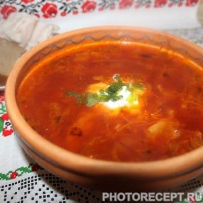 Борщ со свеклой нарезанной соломкой, на мясном бульоне - рецепт с фото