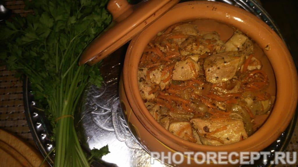 Фото рецепта - Жаркое из свинины с кефиром в горшочках - шаг 7