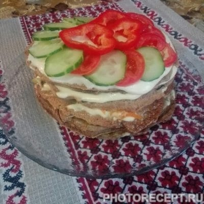 Печеночный торт из куриной печени - рецепт с фото