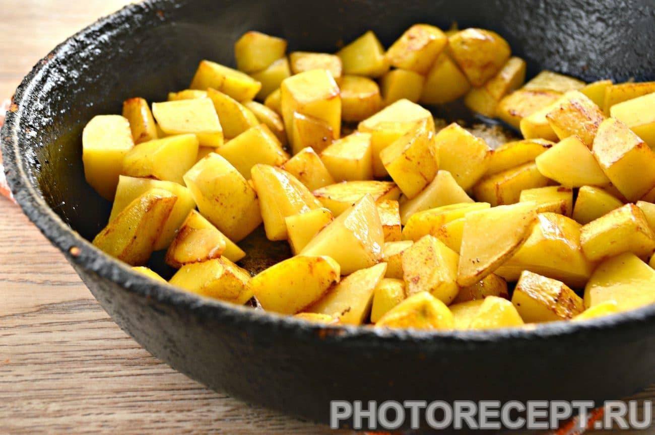 Жареная картошка с печенкой рецепт пошагово