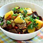Тушеная картошка с баклажанами и говядиной