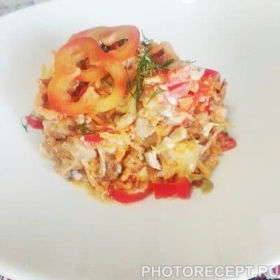 Теплый салат с грибами и курицей - рецепт с фото