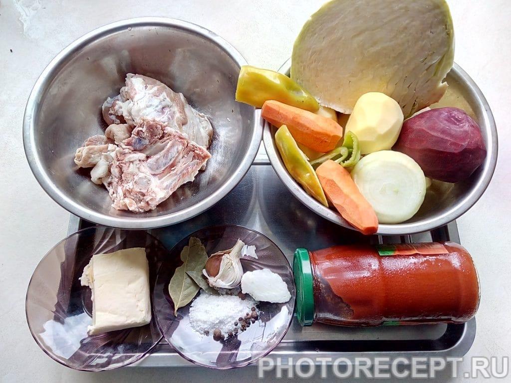 Фото рецепта - Украинский борщ с пампушками - шаг 1