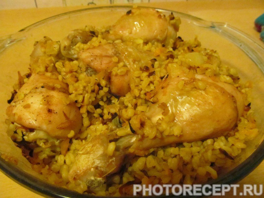 Фото рецепта - Куриные ножки с булгуром, запеченные в духовке - шаг 9
