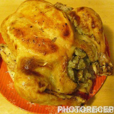 Курица, фаршированная луком и лимоном. - рецепт с фото