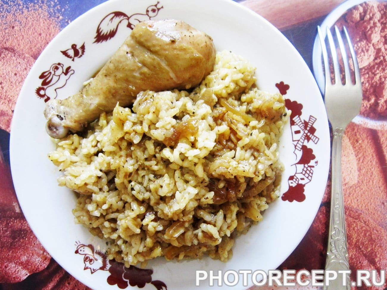 Курица с рисом в соевом соусе