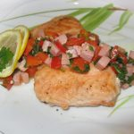 Жареная рыба с ветчиной и болгарским перцем