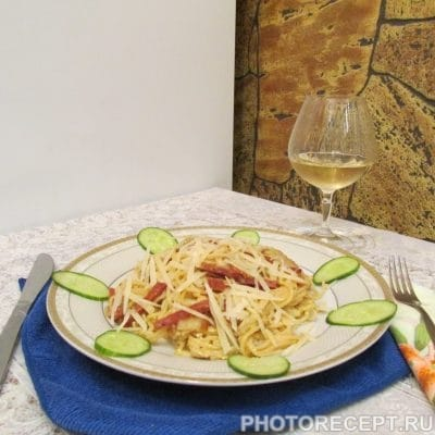 Паста «Карбонара» с сыром - рецепт с фото
