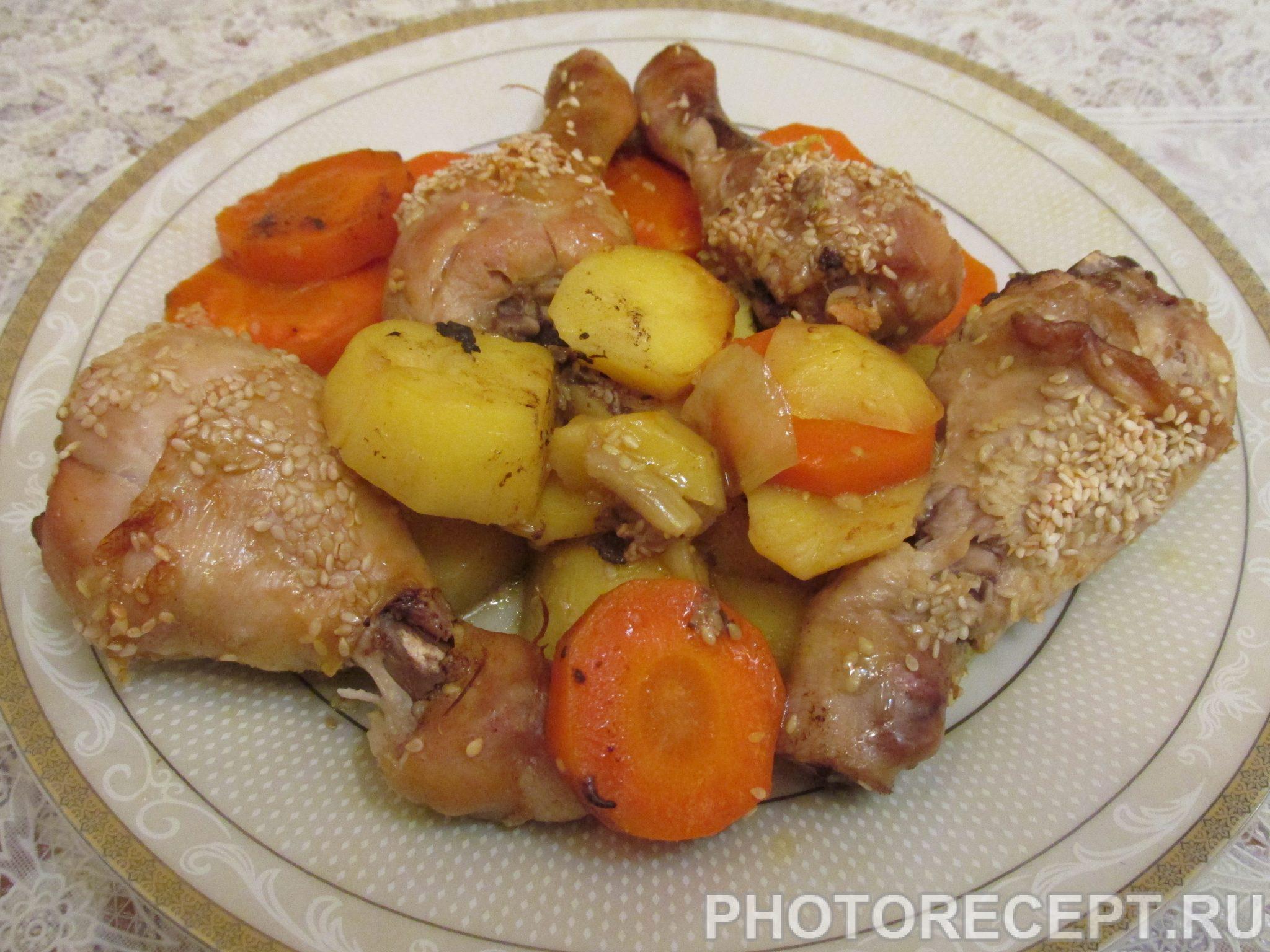 Рецепт куриных ножек в духовке с овощами пошагово