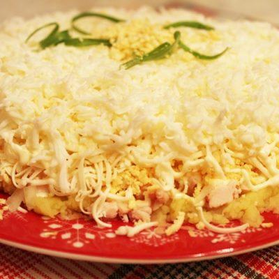 Салат «Невеста» с копченой курицей и сырком - рецепт с фото