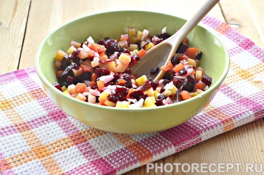 Фото рецепта - Винегрет с солеными кабачками - шаг 4