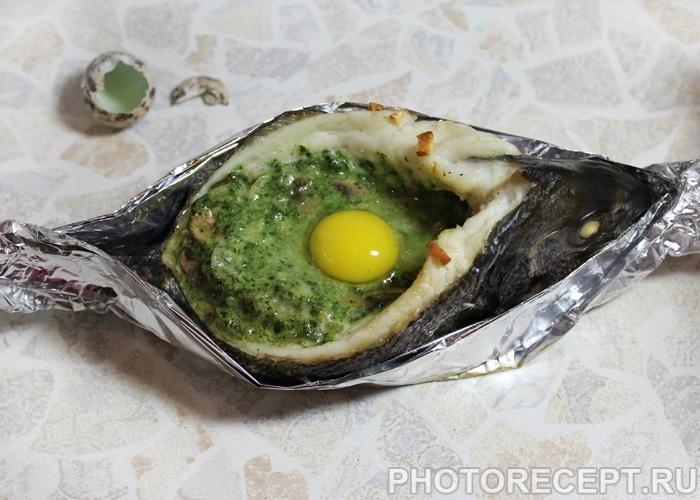 Фото рецепта - Запеченная дорадо, фаршированная грибами и шпинатом - шаг 7