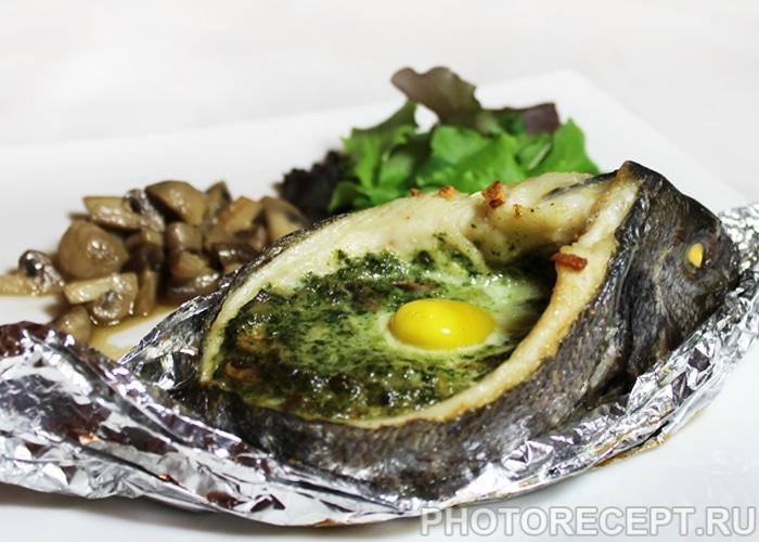 Фото рецепта - Запеченная дорадо, фаршированная грибами и шпинатом - шаг 8