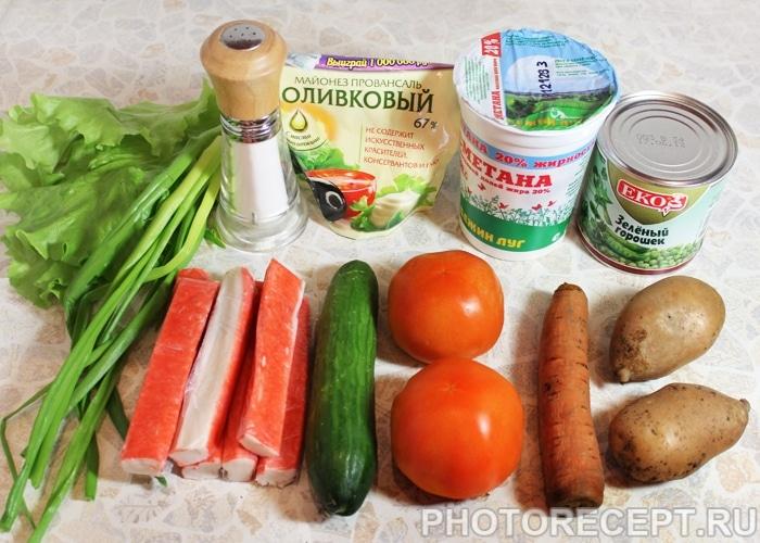 Фото рецепта - Овощной салат с крабовыми палочками - шаг 1