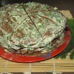Торт из куриной печени с разными прслойками