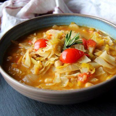 Постные щи из свежей капусты с горохом - рецепт с фото