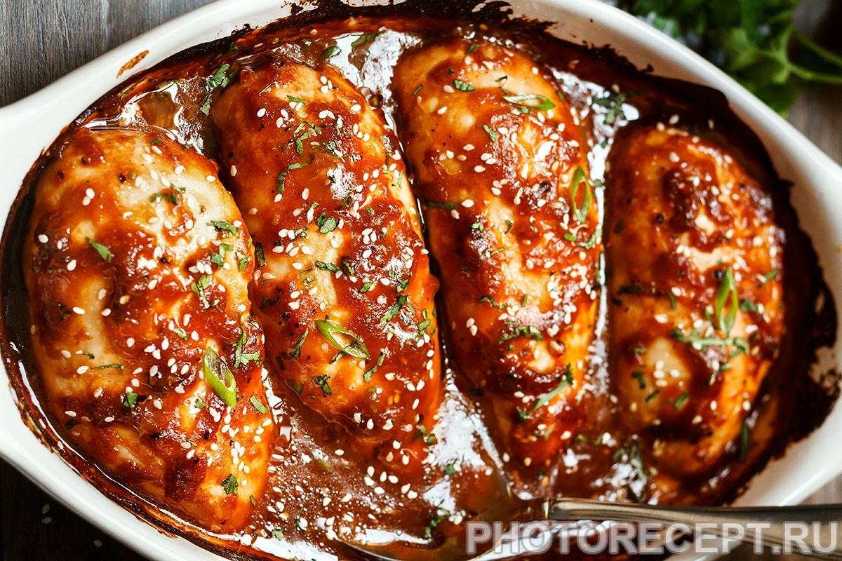 Филе курицы, запеченное под соусом терияки