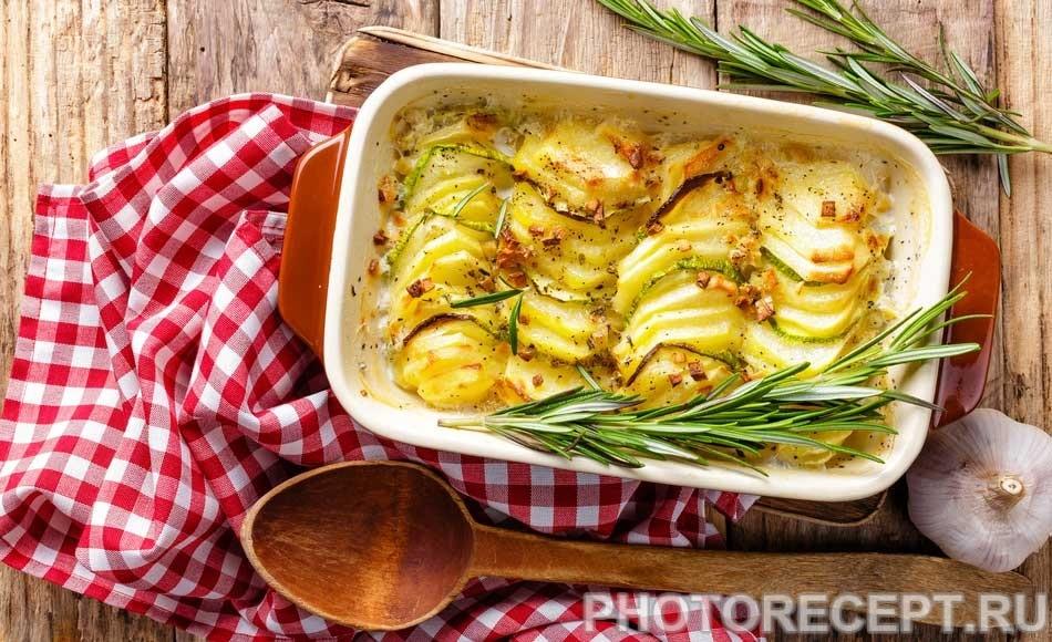 Французская картофельная запеканка с кабачками