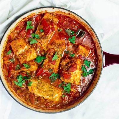 Тушеная рыба с томатами по-мароккански - рецепт с фото