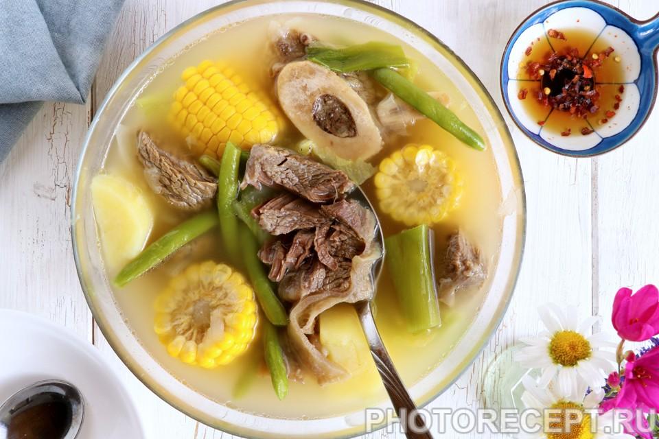 Филиппинский суп из говядины с овощами